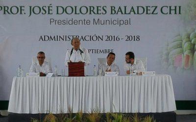Asiste el Gobernador Carlos Joaquín a la toma de protesta de José Dolores Baladéz Chi presidente Municipal de José María Morelos
