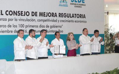 """((FOTOS)) Carlos Joaquín preside la Instalación del Consejo Estatal de Mejora Regulatoria y signa el convenio """"Alianza para la Vinculación, Competitividad y Crecimiento Económico"""""""