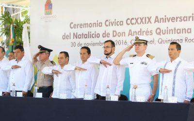 ((FOTOS)) Ceremonia Cívica por el CCXXIX (229) Aniversario del Natalicio de Andrés Quintana Roo