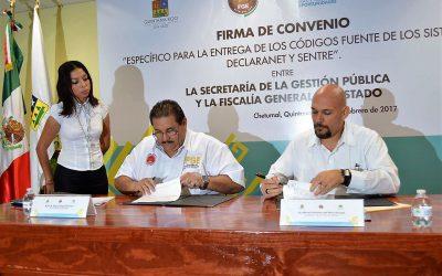 Fiscalía General del Estado y la Secretaría de la Gestión Pública firman convenio para la entrega de herramientas digitales: Sentre y Declaranet