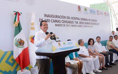 """((AUDIO)) Mensaje del Gobernador Carlos Joaquín al inaugurar el nuevo Hospital General de Cancún """"Dr. Jesús Kumate Rodríguez"""""""