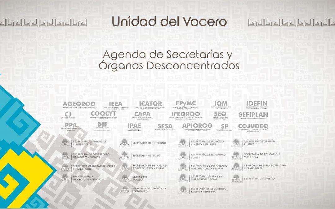 Agenda Secretarías del Gobierno de Quintana Roo del 6 de Marzo de 2017