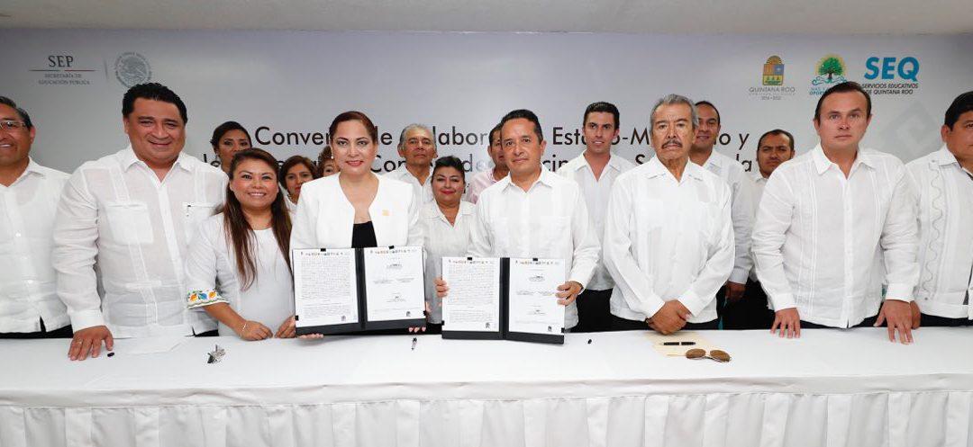 ((FOTOS)) El Gobernador Carlos Joaquín firma como Testigo de Honor el Convenio Marco de Colaboración Estado-Municipios por una Educación de Calidad con Oportunidades Para Todos