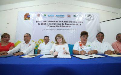 Firma SEDE Convenios de Colaboración con ITCH, CONALEP e ICATQR