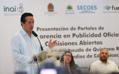 ((FOTOS)) Presenta ante la sociedad civil y medios de comunicación, los portales electrónicos de Publicidad Oficial y Comisiones Abiertas INAI-Gobierno del Estado de Quintana Roo.