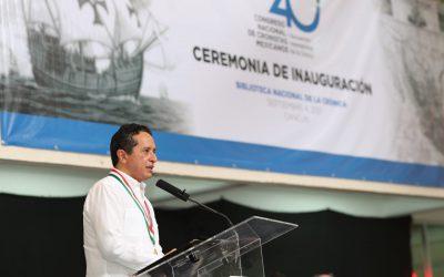 ((AUDIO)) Mensaje del Gobernador Carlos Joaquín al inaugurar el 40° Congreso de la Asociación Nacional de Cronistas de Ciudades Mexicanas A.C. y el Primer Encuentro Internacional de la Crónica. Cancún.