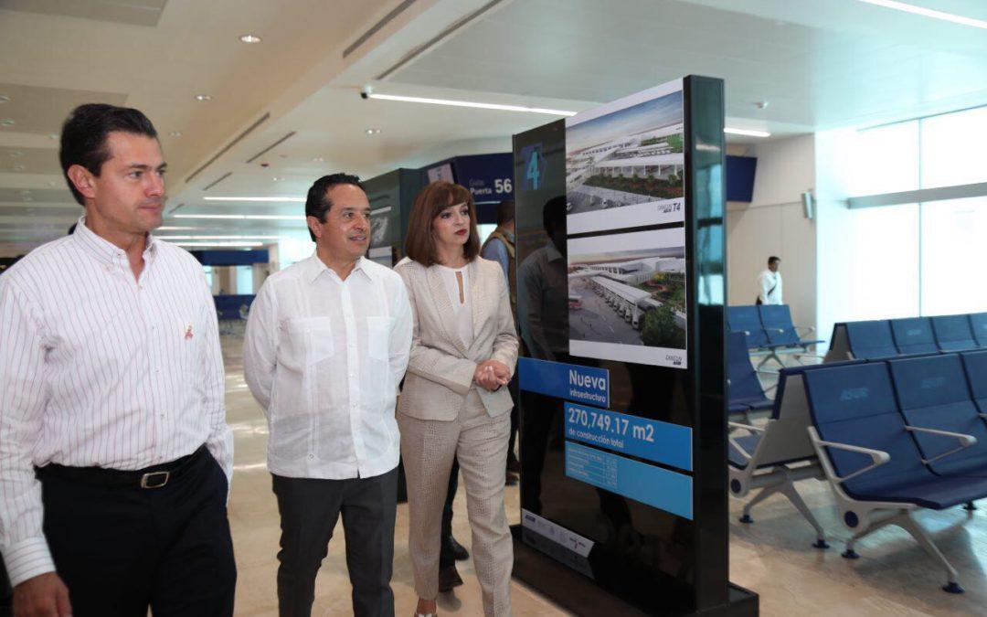 ((FOTOS)) El Gobernador Carlos Joaquín en la inauguración de la Terminal 4 del Aeropuerto Internacional de Cancún con el Presidente Enrique Peña Nieto. CANCÚN.