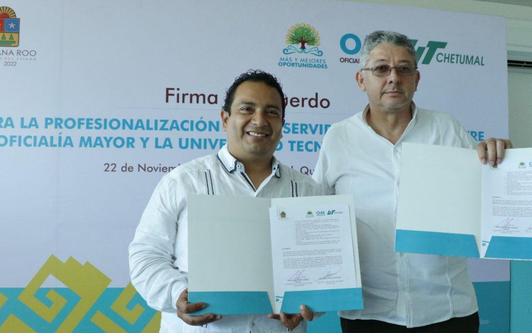 Firman acuerdo de colaboración entre la Oficialía Mayor de Gobierno y la Universidad Tecnológica de Chetumal