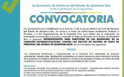 Convocan a Asociaciones Civiles y Académicas a participar en reuniones de la Comisión Interinstitucional contra la Trata de personas
