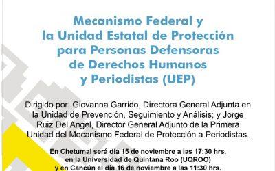 Se invita a reunión informativa sobre el Mecanismo de Protección para Defensores de Derechos Humanos y Periodistas