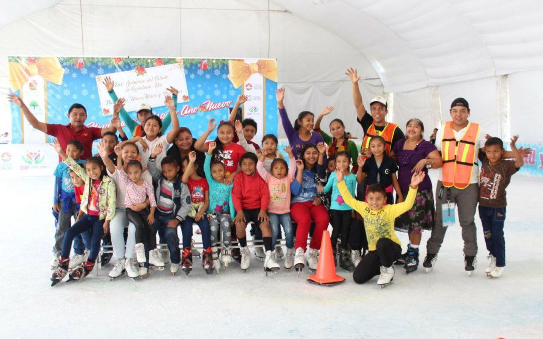 DIF Quintana Roo ofreció más y mejores oportunidades de recreación y diversión con pista de patinaje sobre hielo