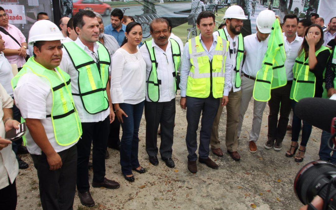 """La SINTRA da """"banderazo de inicio de la obra implementación de Ciclovía Cancún en su fase 1"""""""